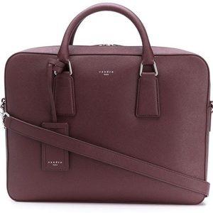 SANDRO Saffiano Bordeaux Leather Laptop Bag
